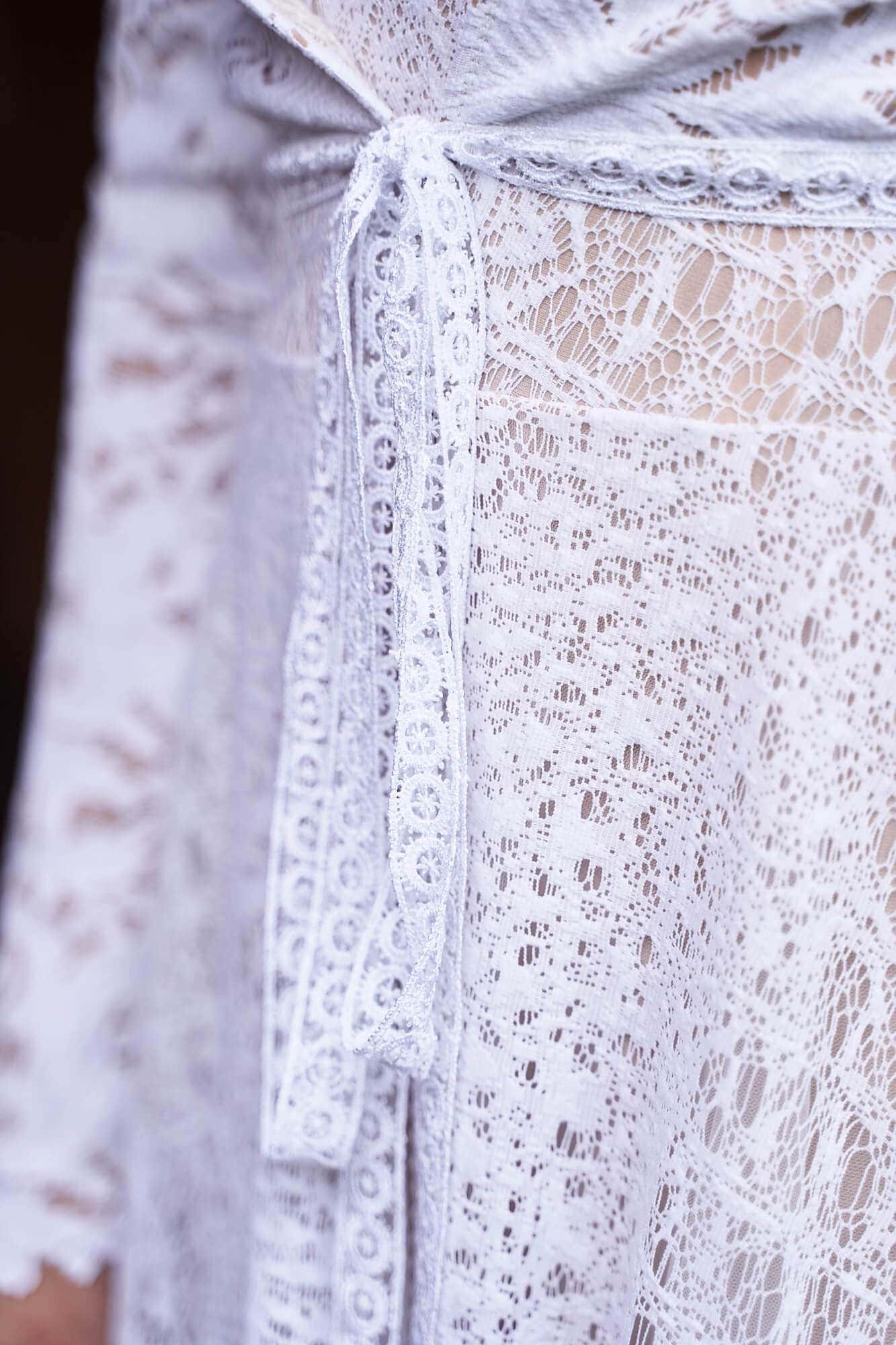 Boho narzutka ślubna bolerko z białej koronki, 3 warstwowe, ocieplane