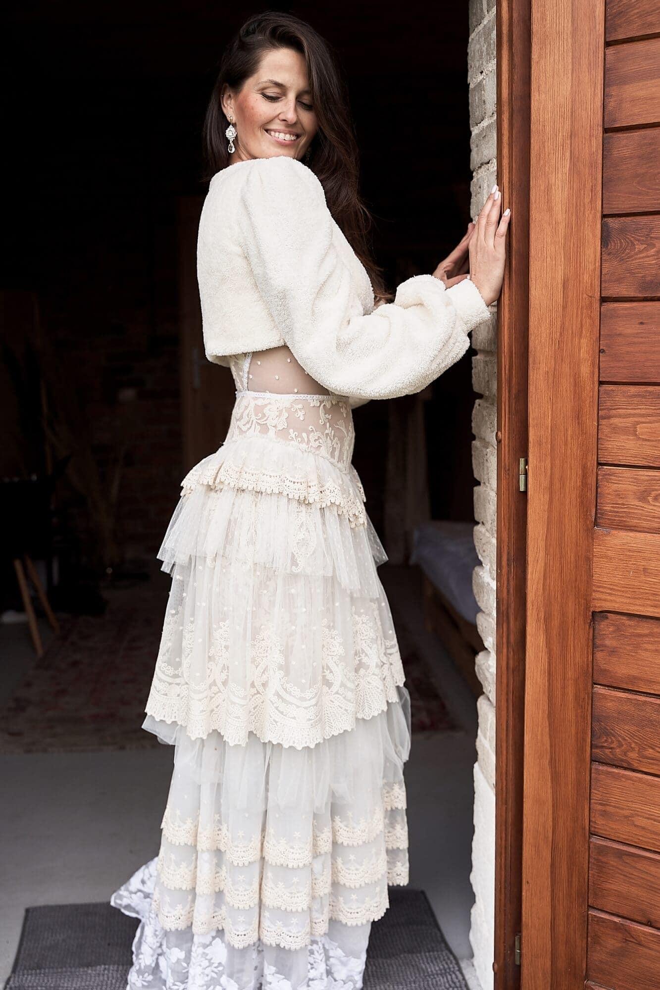 Bolerko ślubne w kolorze ecru - z futerka, ciepłe