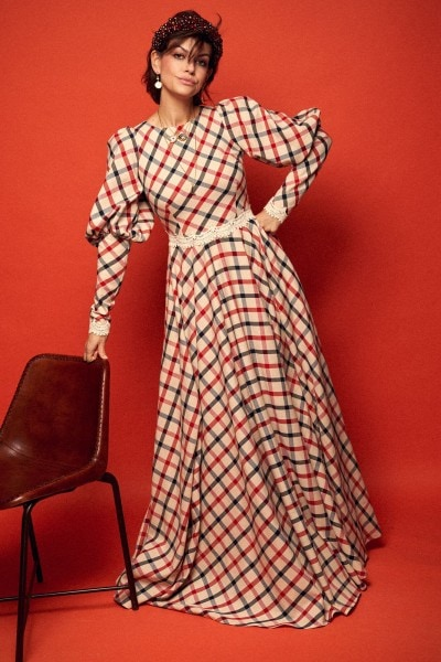 Long checkered evening dress with puff sleeves no. 18 Haute Couture collection Haute Couture 18