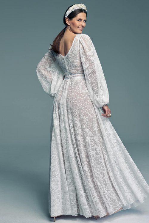 Suknia ślubna z luźnym rękawem i dekoltem w serek Porto 58