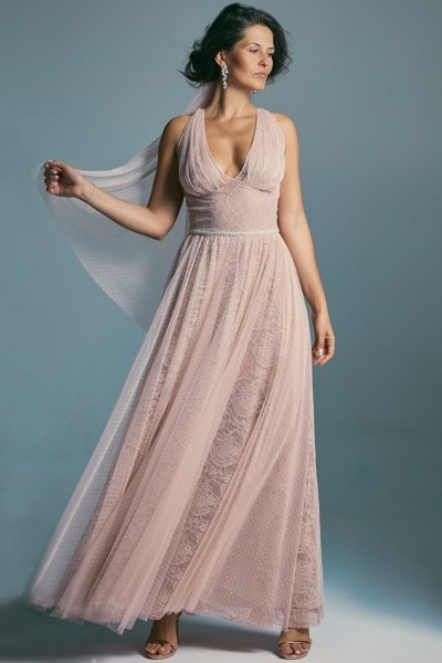 Merlin Monroe like wedding dress – a delicate peach shade Venezia 5