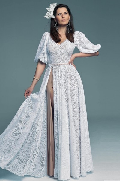 White lace wedding dress with lace sleeves Santorini 10