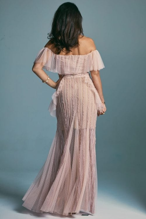 A wedding dress in powder pink with soft frills Venezia 6
