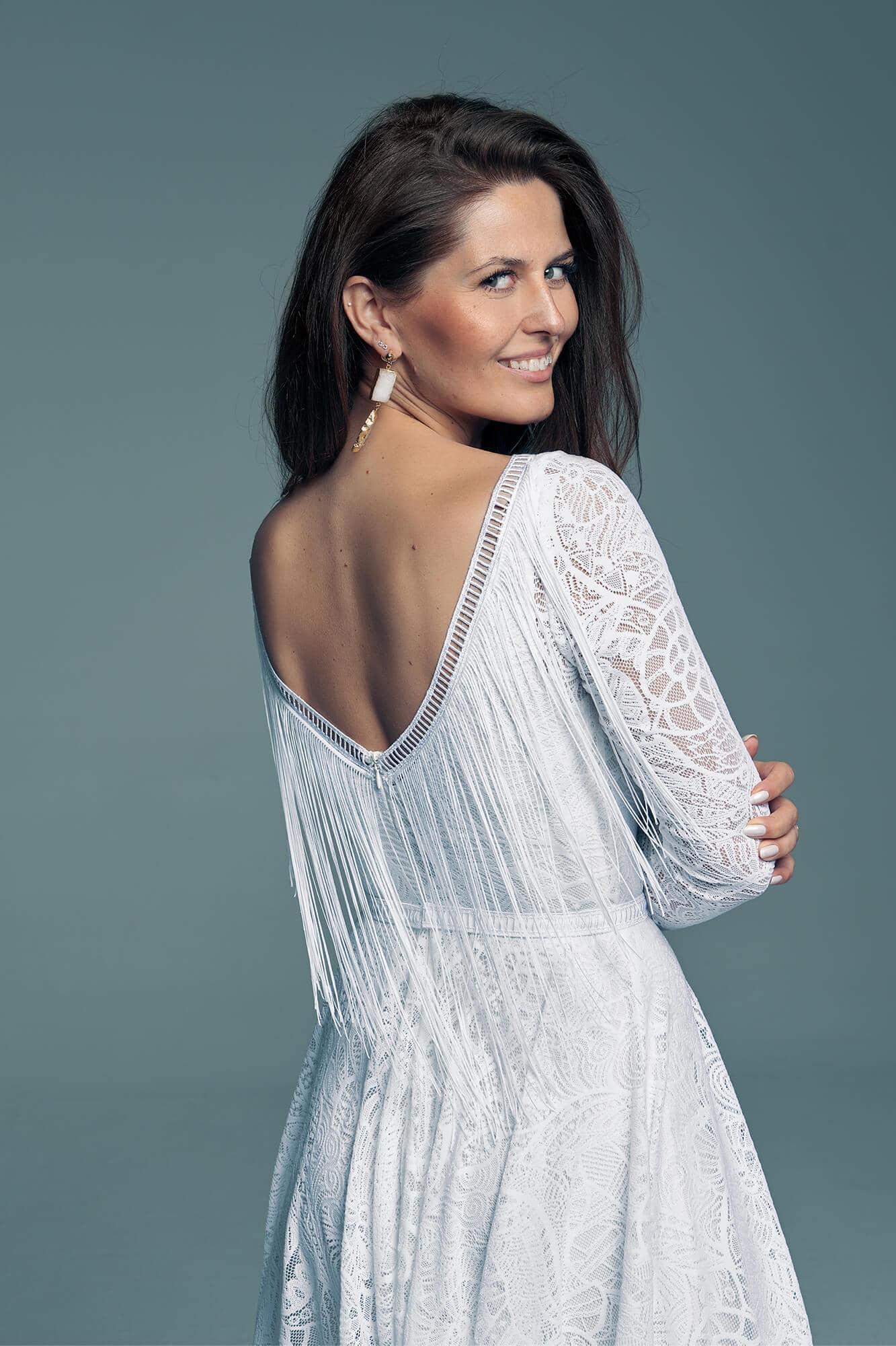 Wedding dress combination of classics and fringes from Boho style Santorini 8