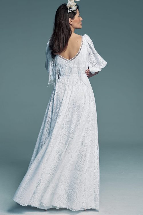 Beautiful wedding dress with sleeves and a sexy slit Santorini 9