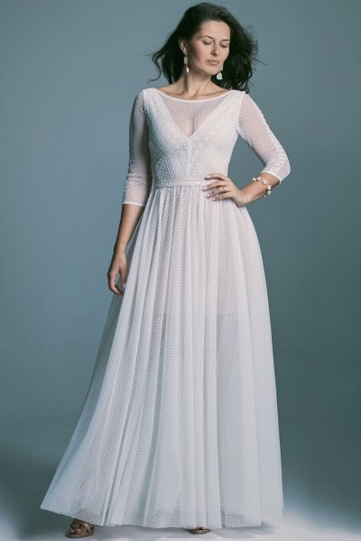 A phenomenal wedding dress with 3/4 sleeves made of knitted lace Santorini 7 Santorini 7