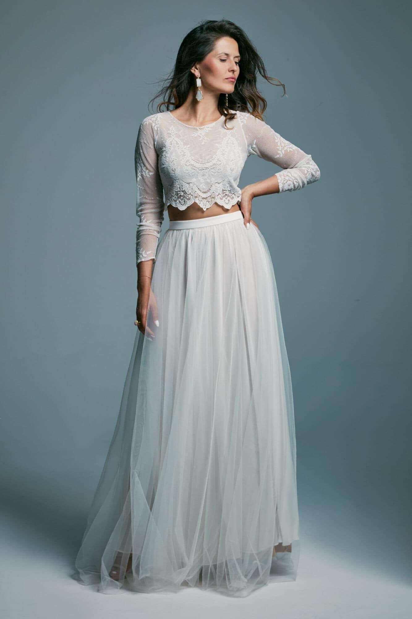 Dwuczęściowa suknia ślubna z długim rękawem i tiulową spódnicą Porto 24
