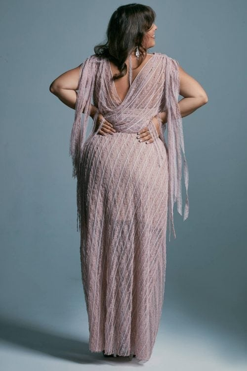 Koronkowa kopertowa suknia ślubna plus size dla gruszki Venezia 3 plus size