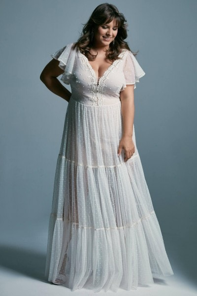 Romantic plus size wedding dress with a gown in the style of boho Barcelona 16 plus size