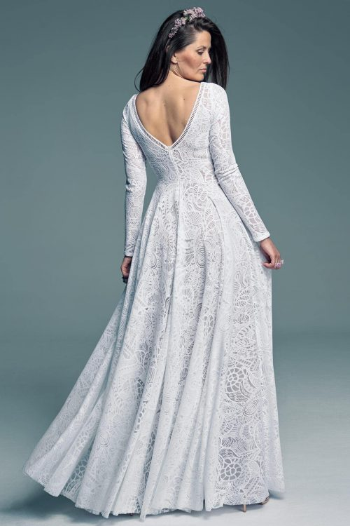 Flared wedding dress with long sleeves Santorini 17