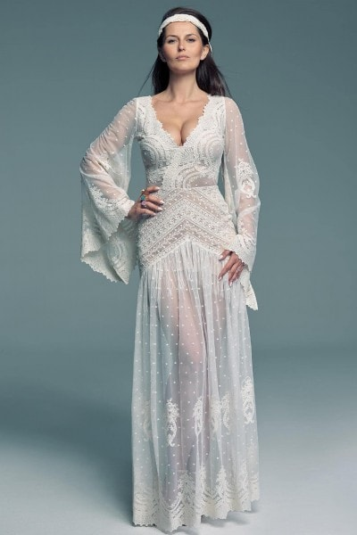 Hippie wedding dress in 80's style Barcelona 26