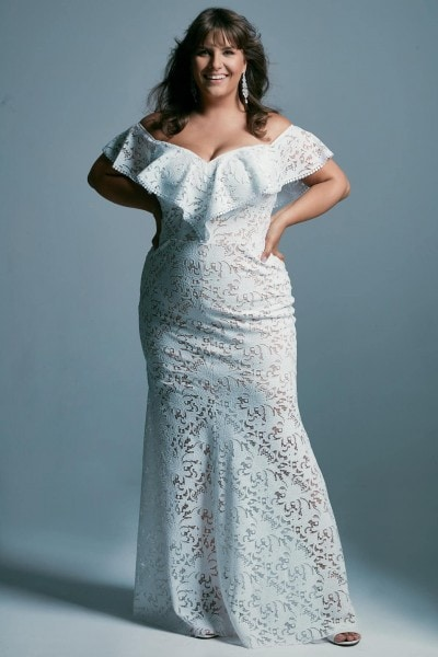Spanish style plus size wedding dress in the shape of a mermaid Santorini 6 plus size