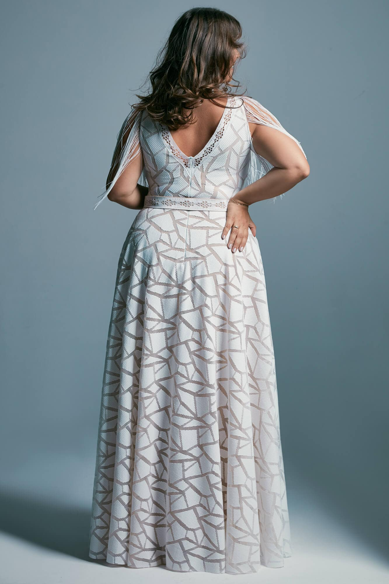 Plus size wedding dress in African pattern with elastic lace Santorini 3 plus size