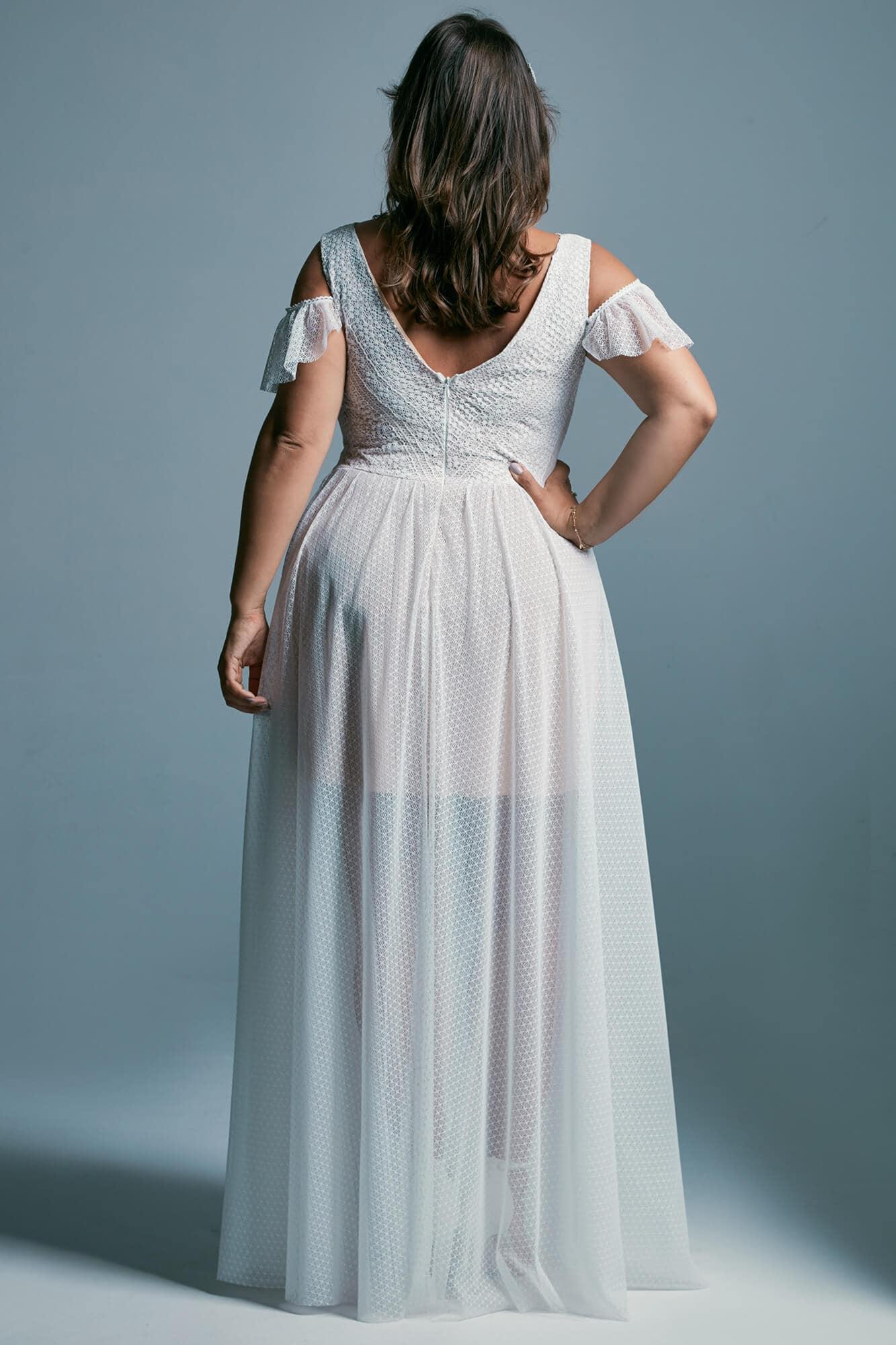 Suknia ślubna plus size w stylu greckim z rękawem Santorini 2 plus size
