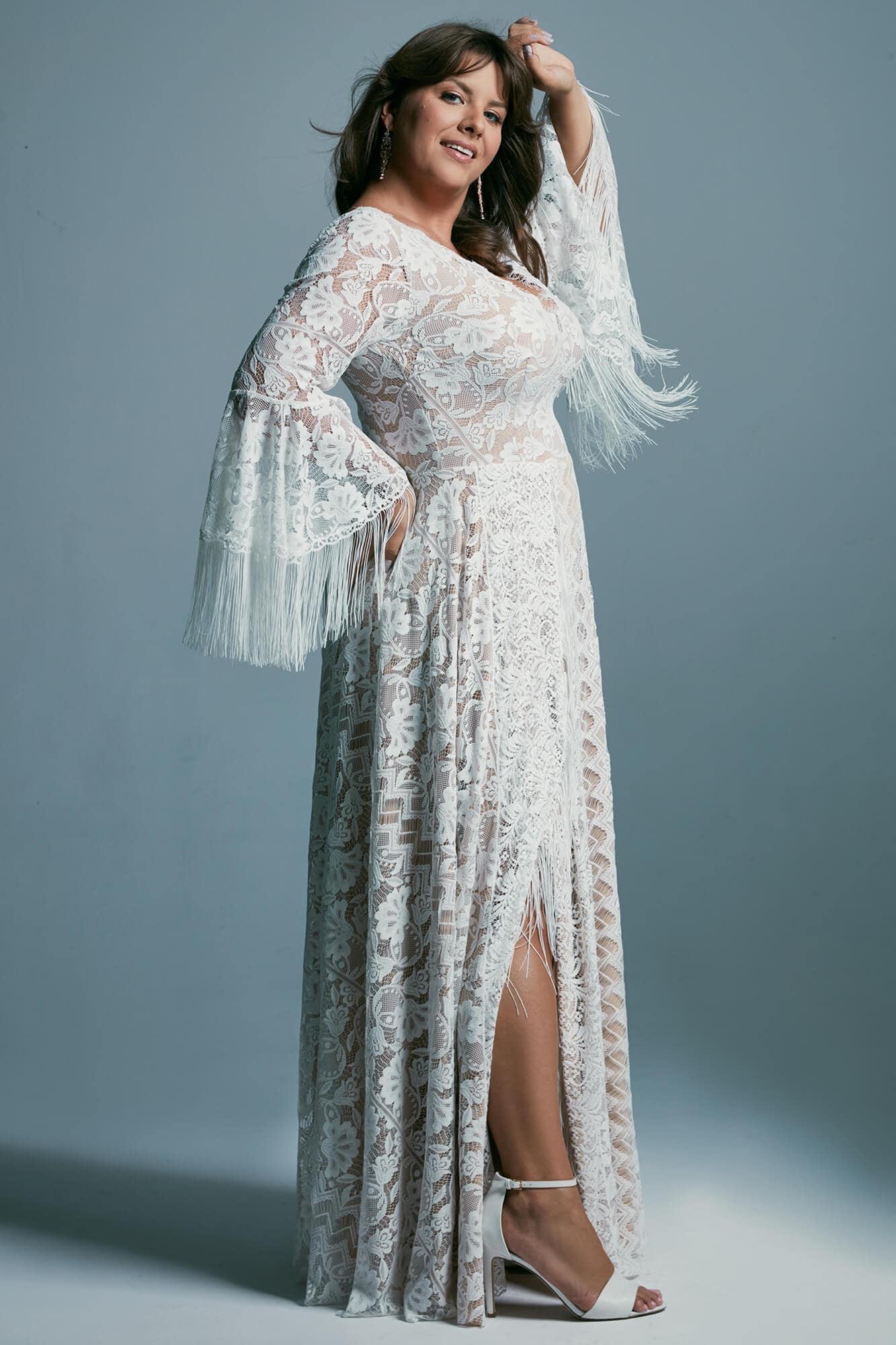 Suknia ślubna plus size z dekoltem V i seksownym rozcięciem spódnicy Porto 44 plus size