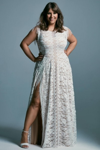Plus size wedding dress with high neckline and boho style fringes Porto 53 plus size