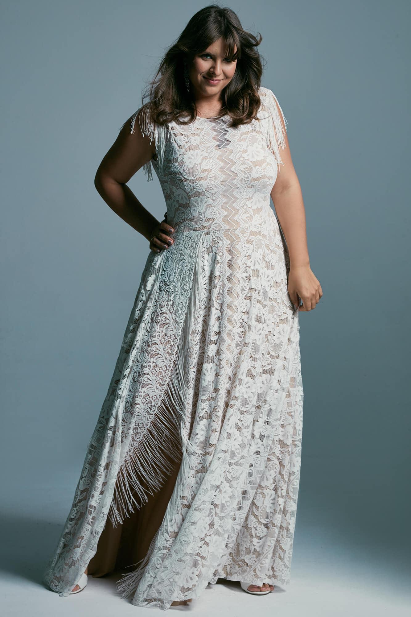 Plus size wedding dress with high neckline and boho style fringes Porto 53 plus size