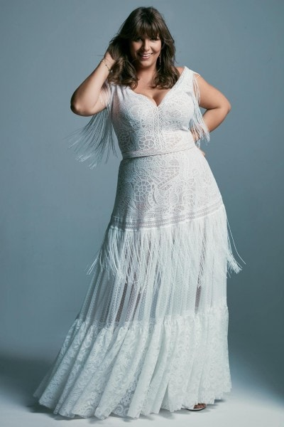 Plus size wedding dress with beautiful boho style lace Santorini 5 plus size