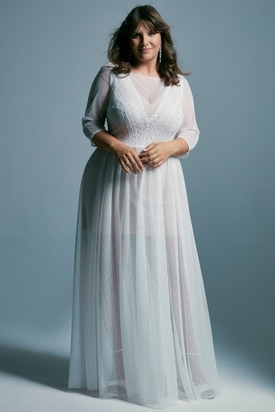 Plus size wedding dress with 3/4 sleeves and a boat neckline Santorini 7 plus size
