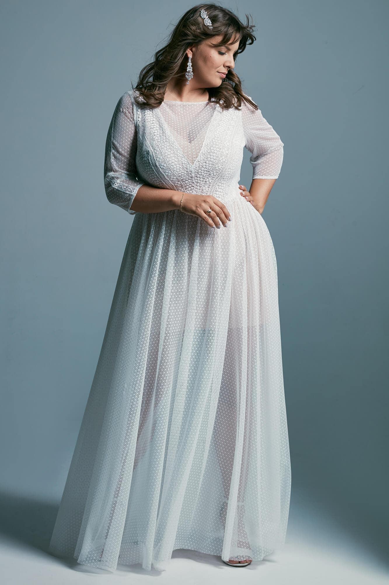 Suknia ślubna plus size z rękawami 3/4 i dekoltem w łódkę Santorini 7 plus size