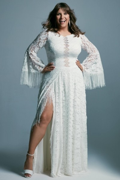 Plus size boho wedding dress with extended sleeves Porto 51 plus size