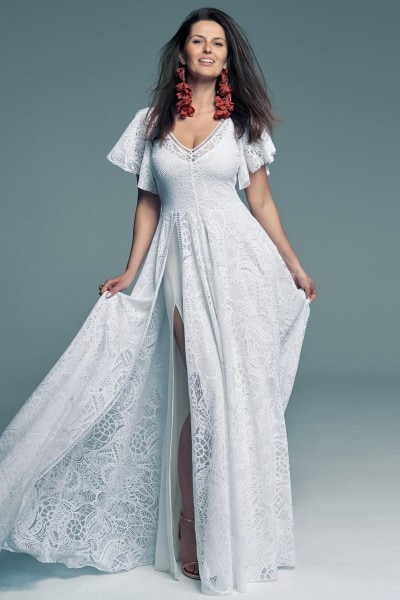 Wedding dress with sleeves and bare shoulders with white lining Santorini 15