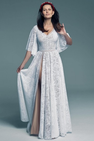 Wedding dress with ¾ sleeves for ladies who necessarily want sleeves Santorini 18