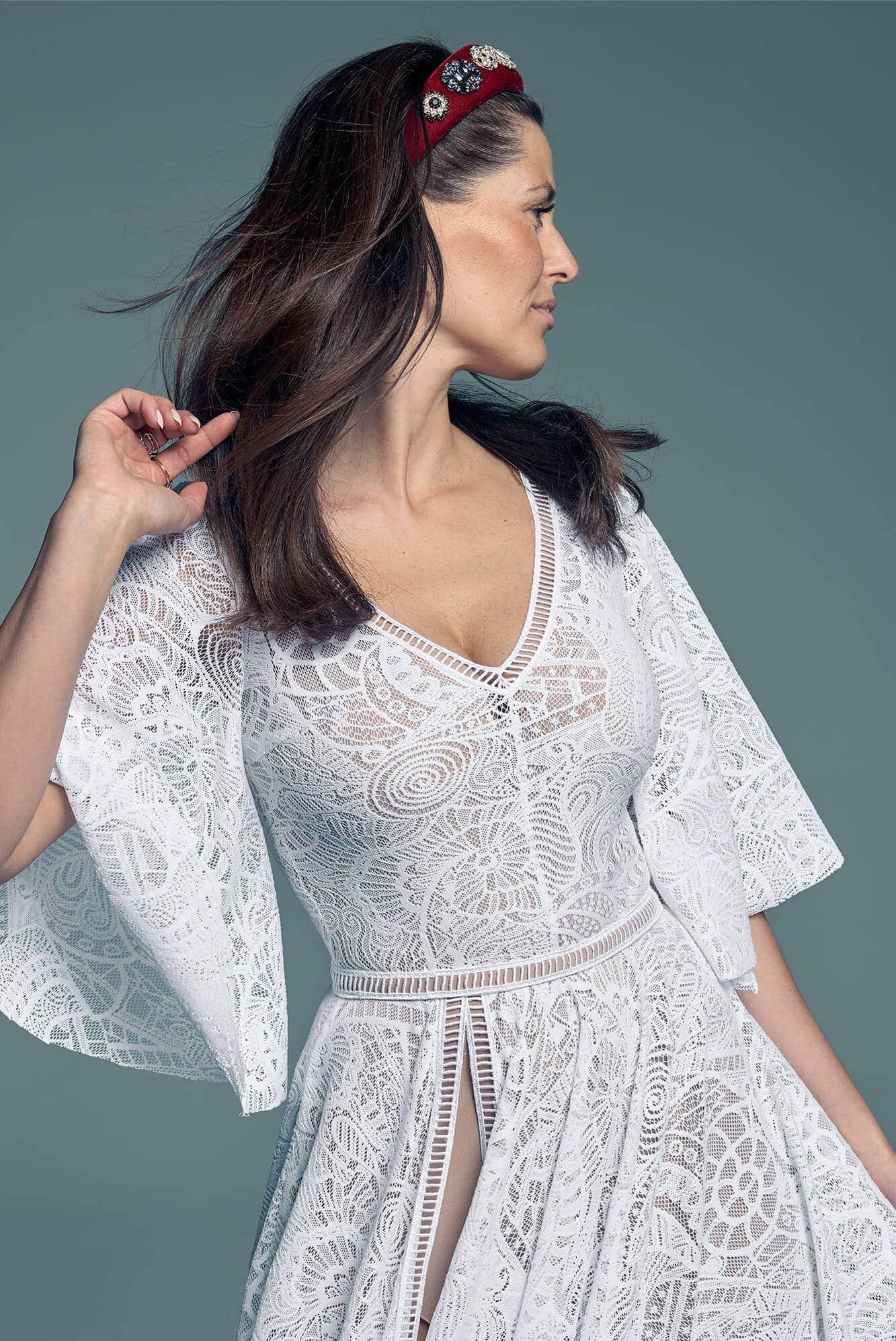 Suknia ślubna rękaw 3/4 dla pań, które chcą mieć koniecznie rękaw Santorini 18