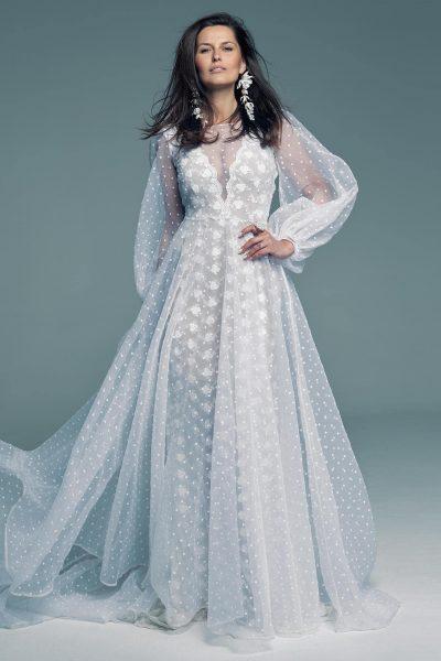 Suknia ślubna z koronki z wierzchnią warstwą tiulu w groszki Barcelona 25