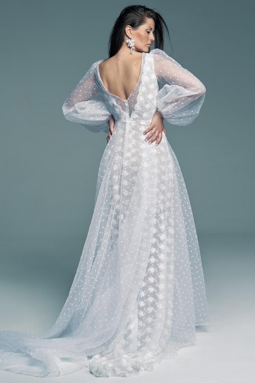 Lace wedding dress with top layer of polka-dot tulle Barcelona 25