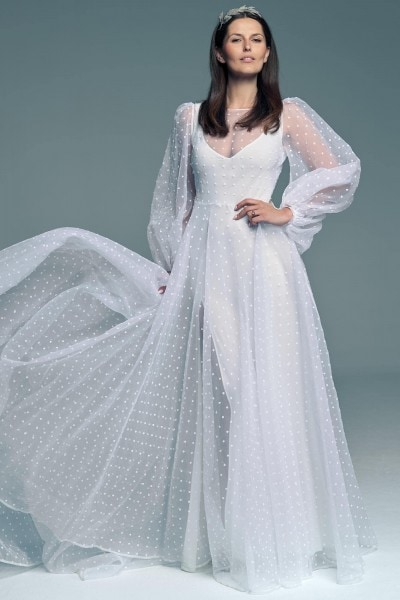Original polka-dot wedding dress Barcelona 24