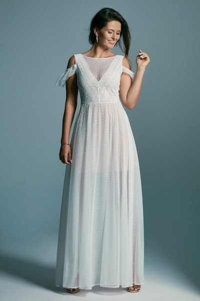 Conservative, modest and girlish wedding dress Santorini 2