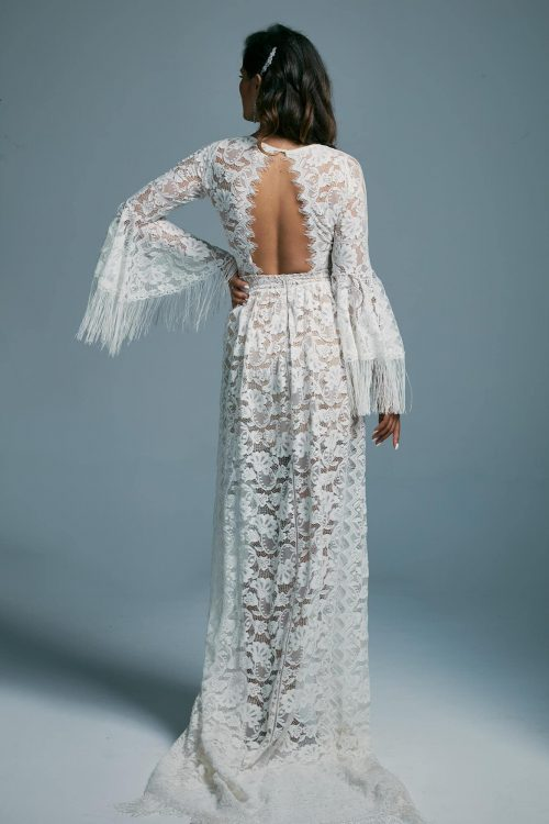 A unique boho style wedding dress decorated with fringes Porto 5