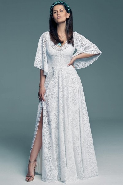 A-line wedding dress with sleeves Santorini 19
