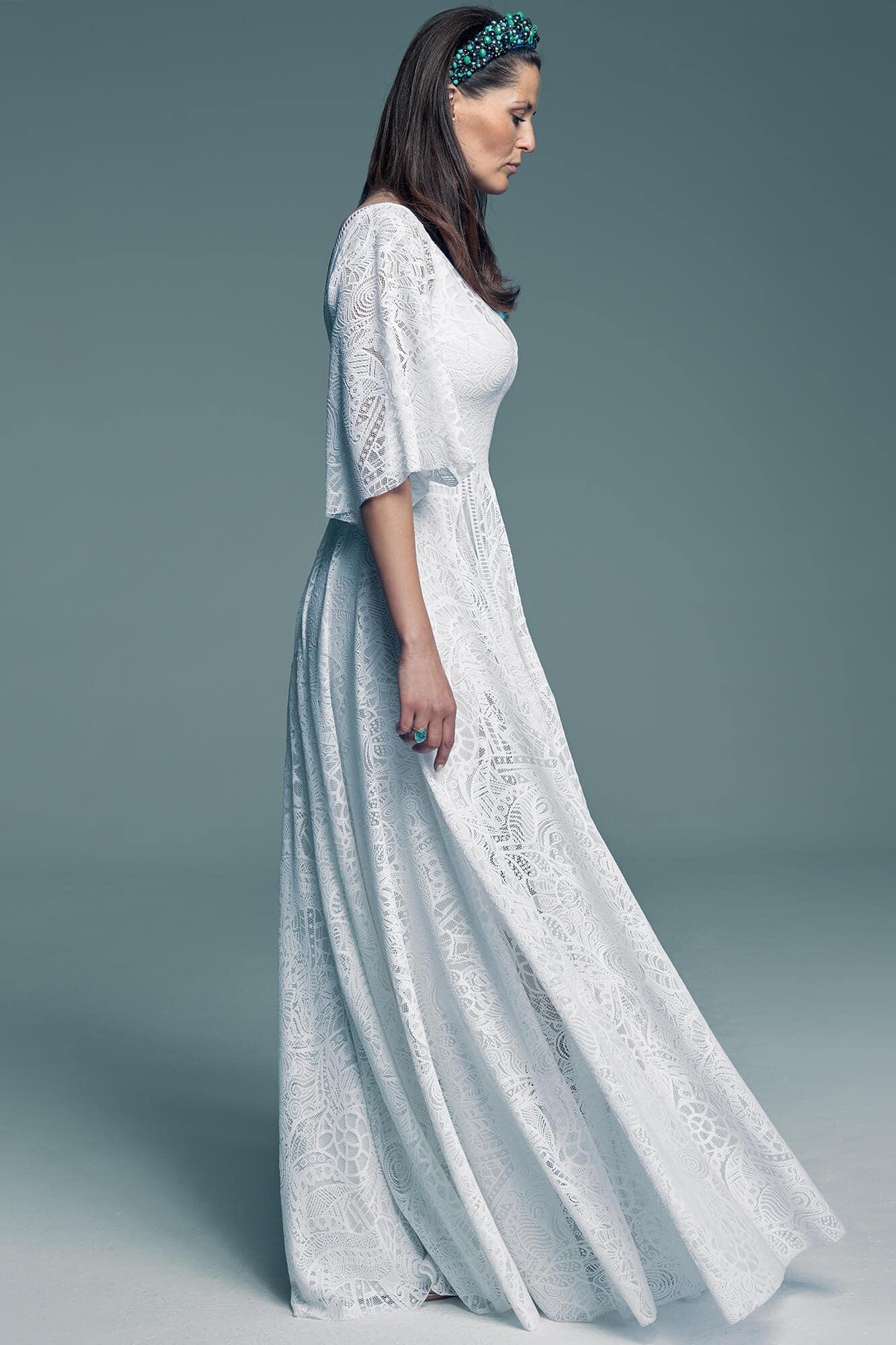 A-line wedding dress with sleeves Santorini 19