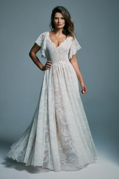 An unusual lace wedding dress with roses and butterfly sleeves Porto 50