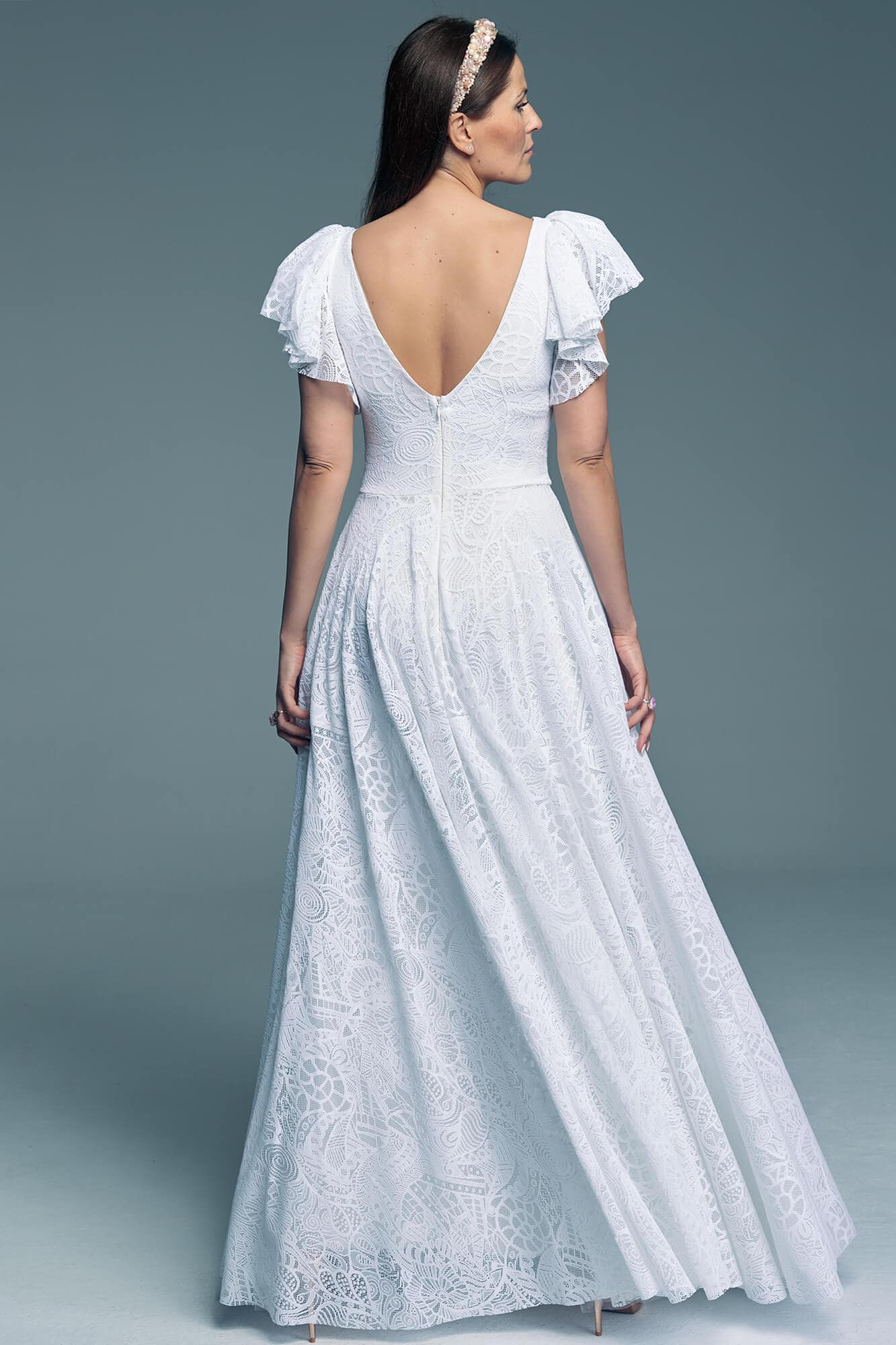 Wedding dress with lace and unique sleeves Santorini 12