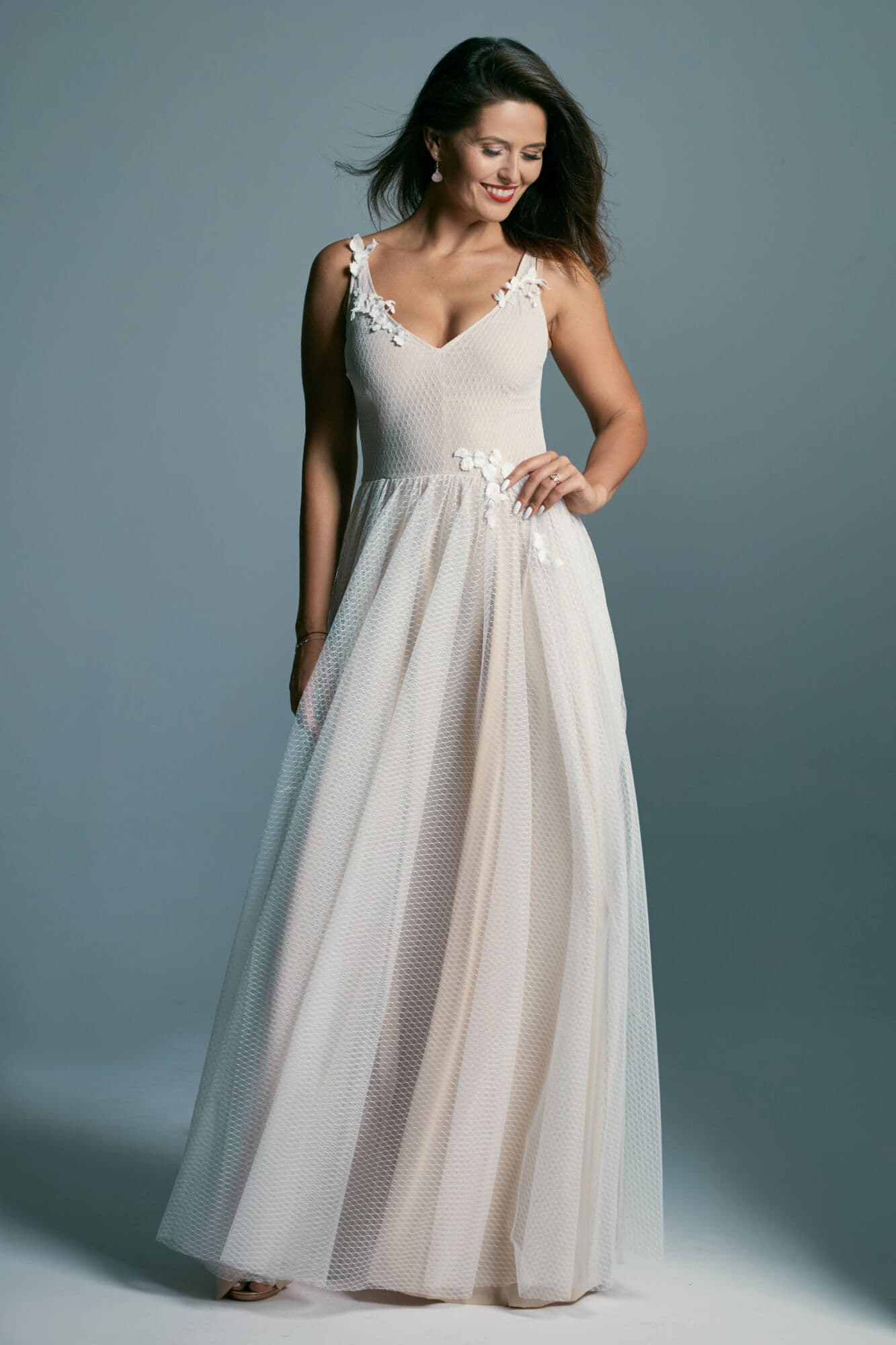 Patterned tulle wedding dress decorated with delicate flowers Barcelona 18