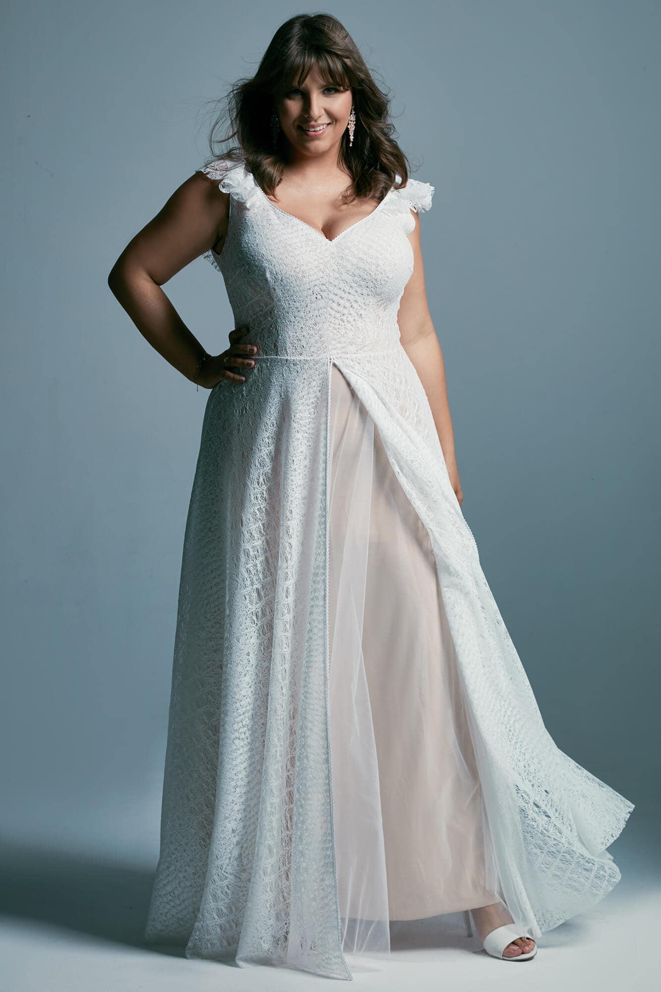 Wyszczuplająca suknia ślubna plus size z koronki Santorini 4 plus size