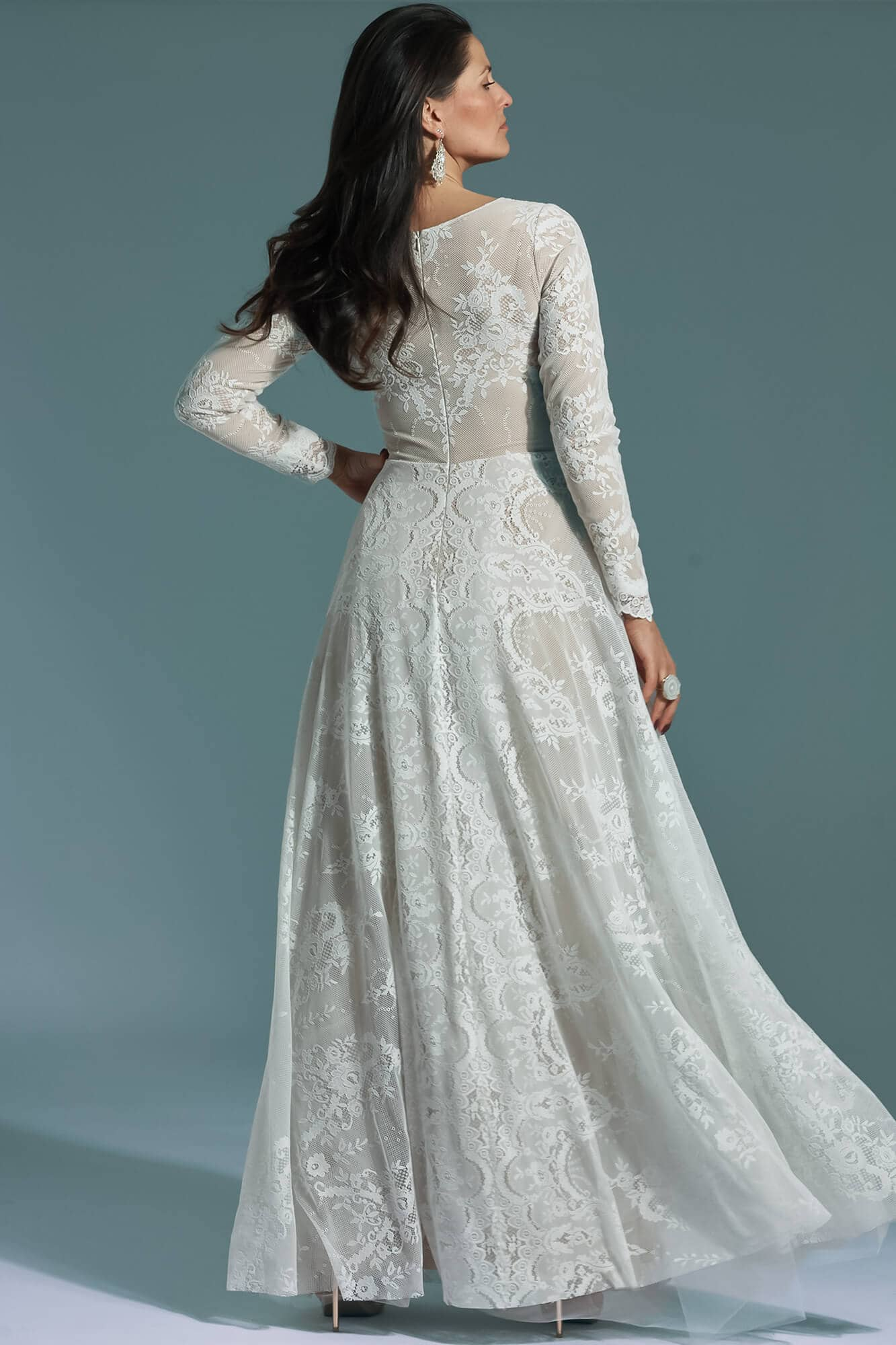 Lace modest wedding dress with long sleeves Porto 61