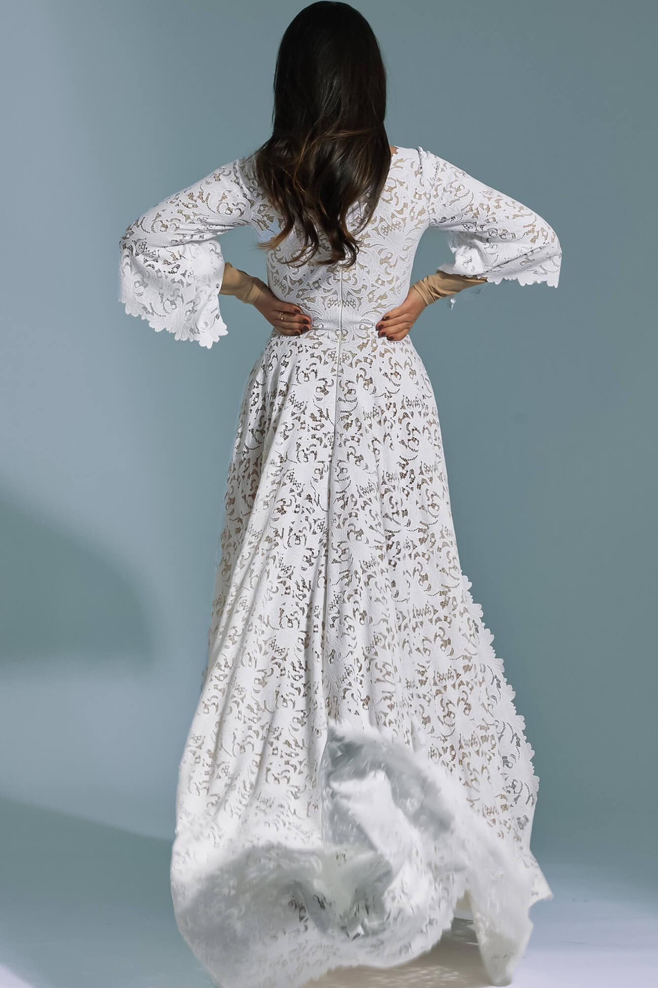 Conservative wedding dress with 3/4 sleeve Santorini 20