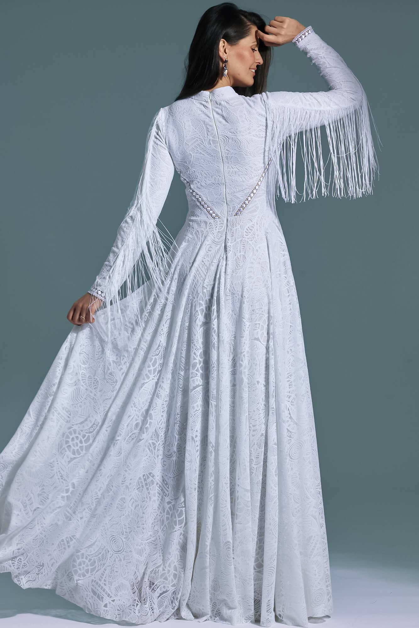 Decorated built-up long wedding dress with fringes Santorini 21